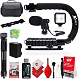Opteka X-Grip Professional Camera/Camcorder Action Stabilizing Handle (Black) Bundle with Opteka VM-8 Directional Mini-Shotgun Microphone for DSLR Cameras & Camcorders and Accessories (10 Items)