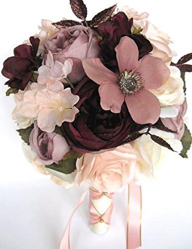 Amazon Com Wedding Bouquets Bridal Silk Flowers Rose Gold Blush Eggplant 17 Piece Package Wedding Bouquet Centerpiece Flower Arrangements Rosesanddreams Kitchen Dining