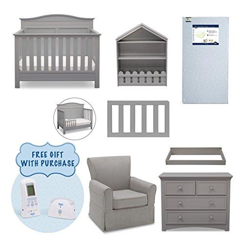 Serta Barrett 7-Piece Nursery Furniture Set with FREE Digital Baby Monitor (ships separately) (Convertible Crib, Toddler Rail, Dresser, Changing Top, Bookcase, Crib Mattress, Glider), Grey
