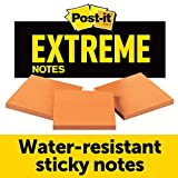 Post-it Extreme Notes, Works outdoors, Removes cleanly, Sticks where other notes can't, Orange, 3 in x 3 in, 3 Pads/Pack, 45 Sheets/Pad