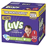 Luvs Ultra Leakguards Disposable Baby Diapers Newborn Size 1, 252 Count, ONE MONTH SUPPLY (Packaging May Vary)