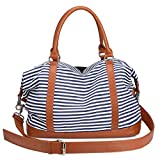 S-ZONE Women Ladies Canvas Overnight Travel Weekender Bag Carry-on Shoulder Tote Duffel Bag with PU Leather Strap (Blue)