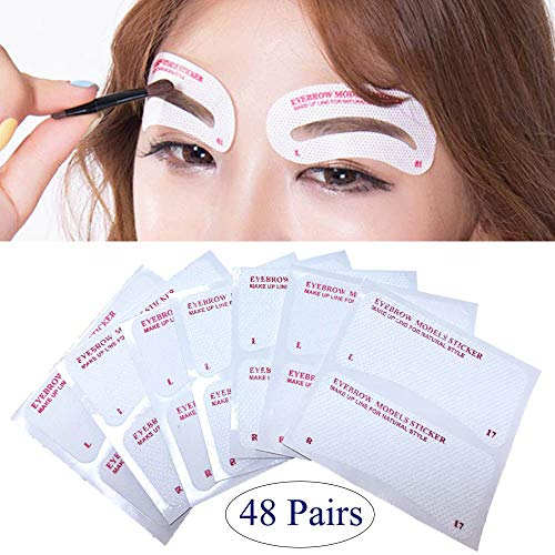 24 Styles Quick Makeup Eyebrow Stencils, EBANKU 48 Pairs Non-Woven Eyebrow Shaping Stencils, Multiple Mixed Shapes Eyebrow Template Stickers DIY Makeup Guide Template Tools