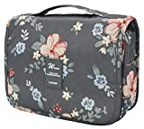 Adigow Travel Toiletry Bag Portable Ladies Multifunction Makeup Bag Large Makeup Bags for Traveling Dark Grey Flowers