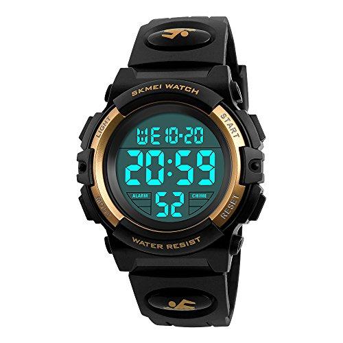 Boys Waterproof Outdoor Sports Watches,Skmei Electronic LED Digital Multifunction Girls Kids Wrist Watch,W/Alarm Back Light (gold)