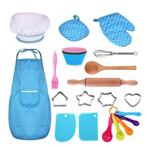 Anpole 11Pcs Kids Chef Set, Children Cooking Play Kitchen Waterproof Baking Aprons, Oven Glove, Eggbeater, Cookie Cutters for Girl's Gift 518hoQuocvL