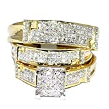 Yellow Gold Trio Wedding Set Mens Women Rings Real 1/2cttw Diamonds Pave (I2/i3 Clarity, I/j Color)