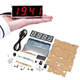 Novelty Table Clock Digital Style DIY Kit Comes Transparent Box, Portable Genius School Student Project, Benefit Enhance Electronic Learning IQ EQ Talent Solving and Imagination Skill.