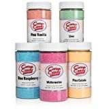 Cotton Candy Express 5 Flavor Cotton Candy Sugar Pack with Lime, Watermelon, Pina Colada, Blue Raspberry, Pink Vanilla, 11-Ounce Jars
