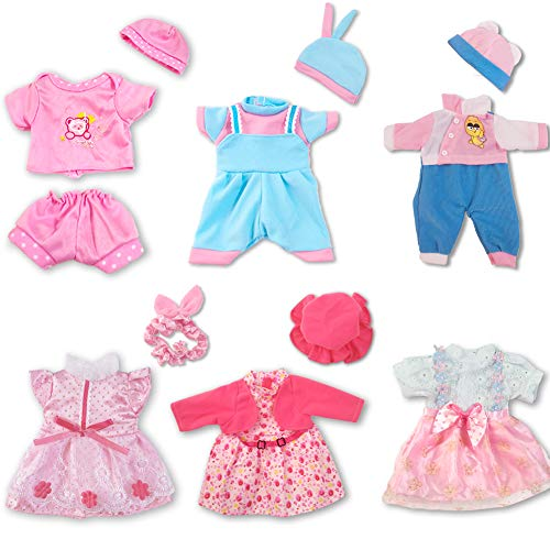 ARTST Doll Clothes,12 inch Baby Doll Clothes[6 Sets](Include 4 Hats + 1 Bowknot ) for 10 inch Dolls /11 inch Baby Dolls/ 12 inch Baby Dolls