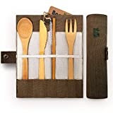 Bambaw Bamboo Cutlery Set | Travel Cutlery Set | Eco Friendly Flatware Set | Knife, Fork, Spoon and Straw| Wooden Cutlery Set | Camping Cutlery Set with Travel Pouch | 7.9 Inch