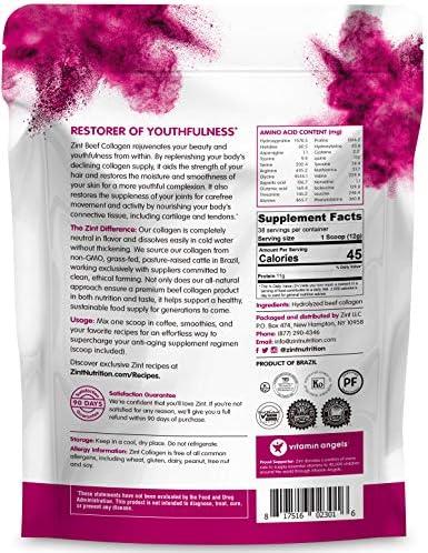 Zint Collagen Peptides Powder (16 oz): Paleo-Friendly, Keto-Certified, Grass-Fed Hydrolyzed Collagen Protein Supplement - Unflavored, Non GMO 8