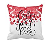 4TH Emotion Love Sweet Love Text as Valentine's Day Home Decor Throw Pillow Cover Cotton Polyester Cusion Cover 18 x 18 inches