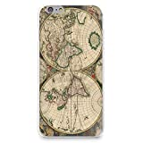 iPhone 7 Case, HelloGiftify Vintage Old World Map Pattern Soft Rubber TPU Back Cover for Apple iPhone 7 4.7' (Style 1)