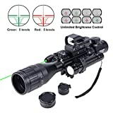 Hiram 4-16x50 AO Rifle Scope Combo with Green Laser, Reflex Sight, and 5 Brightness Modes Flashlight