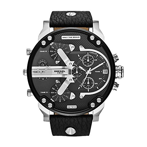 """518q%2BbjkjPL Futuristic stainless steel watch with textured black dial featuring multiple time zones, translucent acetate details, and """"Only the Brave"""" plaque at 12 o'clock 58 mm stainless steel case with mineral dial window Quartz movement with analog display"""