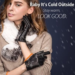 615e26983 YISEVEN Women's Winter Touchscreen Lambskin Leather Gloves with Warm Fleece  Lined