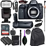 Canon EOS 6D Mark II Digital SLR Camera Body - Wi-Fi Enabled with Pro Camera Battery Grip, Professional TTL Flash, Deluxe Backpack 200EG, Universal Timer Remote Control, Spare LP-E6 Battery (16 items)