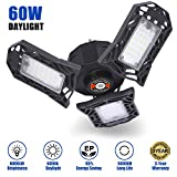 LED Garage Lights,60W Garage Ceiling Light with 3 Adjustable Panels, Deformable Garage Lighting 6000 LM, E26/E27 Utility Shop Light for Warehouse, Working LED Light Bulbs (NO Motion Activated) ...