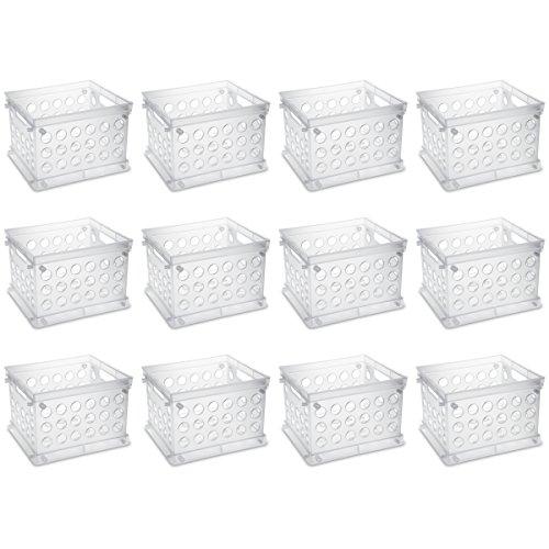 Sterilite 16958612 Mini Crate, Clear, 12-Pack