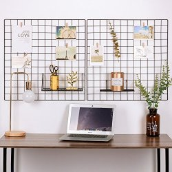 Kaforise Painted Wire Wall Grid Panel, Multifunction Photo Hanging Display and Wall Storage Organizer, Pack of 2, Size:23.6″x 23.6″, Square Black