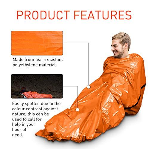 Saco de Emergencia Bivvy Albergue Saco de Dormir Supervivencia Impermeable Manta Hoja de Refugio Aislamiento Térmico Exterior Brillante Naranja Fácil de Localizar Portátil, Pack x 2 uds 2