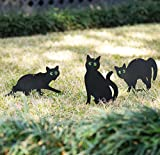 Homarden Garden Scare Cats - Humane Pest Control Statues with Reflective Eyes (Set of 3)