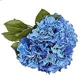 Duosuny Artificial Silk Fake 5 Heads Flower Bunch Bouquet Home Hotel Wedding Party Garden Floral Decor Hydrangea (Blue-1)