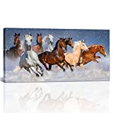 Large Modern Wall Painting White and Brown Running Horses in the Snow Wild Animals Prints on Canvas Framed Animal Painting for Living Room Ready to Hang 24' x48'