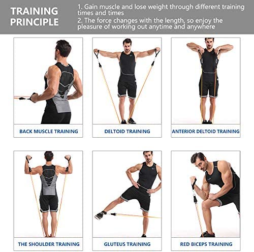 Exercise Resistance Bands Set, [2020 Newest] 5 Stackable Resistance rope with Door Anchor,2 Handles,2 Legs Ankle Straps,Waterproof Carry Bag, for Resistance Training, Fitness,Home Workouts 150 lbs 9