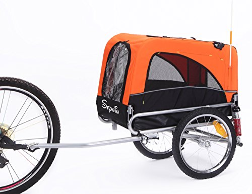 Sepnine 2 in 1 Small Sized Comfortable Bike Trailer Bicycle Pet Trailer/Dog Cage 10308S (Orange/Black)