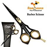 Saaqaans SQR-01 Professional Hairdressing Barber Scissor - Stainless Steel Sharp Razor Edge 6 inches Hairdresser Shears for Stylish Hair Cutting in Beautiful Black Scissors Pouch/Case (Barber USA)