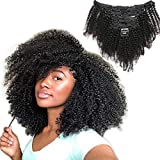 Afro Kinky Curly Clip in Human Hair Extensions for Black Women 12 Inches Natural Color Full Head Thick 4B 4C Clip in Hair Extensions 8 Pieces per Set 120 Gram