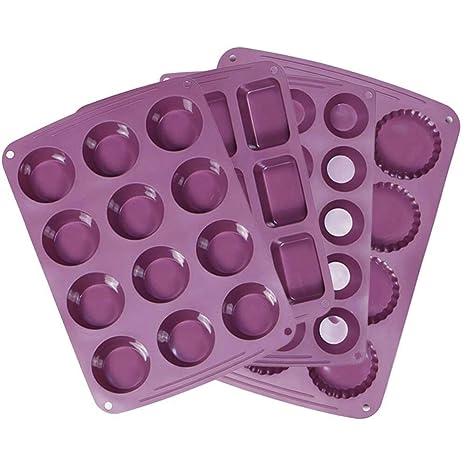 Webake Silicone Baking Pans Set of 4 Include Muffin Pan, Mini Cupcake Pan, Mini Brownie Pan, Mini Tart Pan, Cake Mold Combo Set