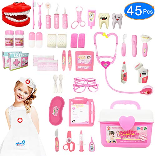 JGSY Doctor Kit for Kids 45 Pieces Toy Doctor Kit Pretend Dentist Medical Toy Kids Doctor Kit with Electronic Stethoscope for Girls, School Classroom and Doctor Roleplay Dress-Up deal 50% off 51988xbKnbL