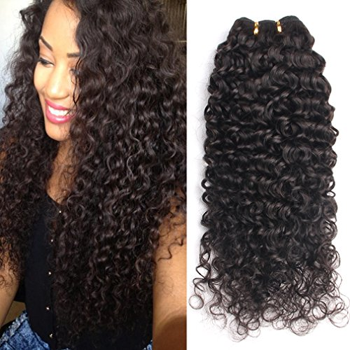 GEM Beauty Good Quality Brazilian Curly Hair Weave 3 Bundles lot Virgin Human Hair Extensions Brazilian Deep Curly Hair Bundles Natural Black (28 28 28inch)