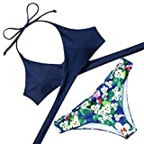 MOOSKINI Womens Padded Push-up Bikini Set Bathing Suits Two Pieces Swimsuit (XL, Deep Blue)