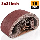 Coceca 3x21 Inches(75x533mm) Aluminum Oxide Sanding Belt, 18 Pack Sanding Belts (3 Each of 60 80 120 180 240 400 Grits) for Belt Sander