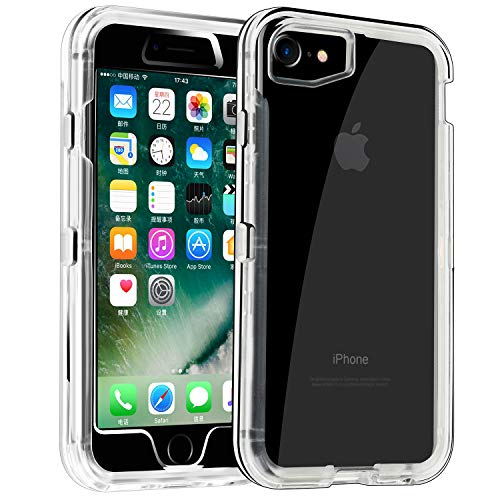 Phone Case for iPhone 6/6s Heavy Duty Hybrid Crystal Clear Dual Layer Rugged Cover Shockproof Shell Hard PC & Soft TPU Bumper Reinforced Corners Protective Case Design for Apple iPhone 6/6s,Clear