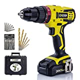 CACOOP Cordless Hammer Drill Driver Set, 20V Compact Drill with Lithium-ion Battery and Charger, 1/2 inch All-Metal Chuck, 2 Variable Speed, Wood Drill and Screwdriver Bits, Magnetic Bit Holder