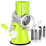 Geedel Rotary Cheese Graters, Kitchen Mandoline Slicer with 3 Interchangeable Blades, Easy to Clean Cheese Cutter for Fruit, Vegetables, Nuts