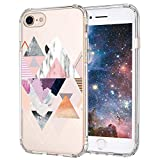 MOSNOVO iPhone 7 Case, iPhone 8 Case Clear, Geomatric Marble Pattern Clear Design Printed Plastic Hard Back Phone Case with TPU Bumper Protective Case Cover for iPhone 7 (2016) / iPhone 8 (2017)