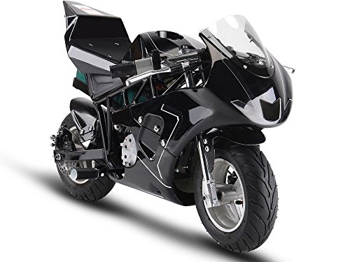 MotoTec 36v 500w Electric Pocket Bike GP Version, THREE large 12v batteries, Black