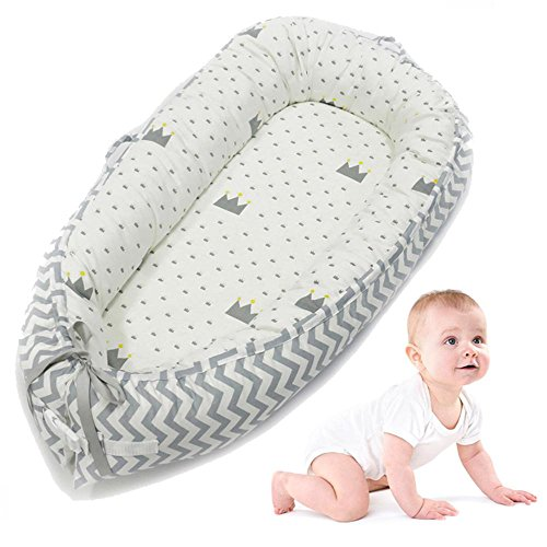 AOLVO Baby Bassinet for Bed,All in One Baby Lounger,Newborn Infant Toddler Portable Co-Sleeping Cribs & Cradles Lounger Cushion Super Soft Breathable Sleep Nest,Cocoon Snuggle Bed