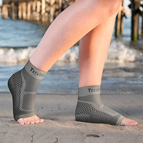 TechWare Pro Ankle Brace Compression Sleeve - Relieves Achilles Tendonitis, Joint Pain. Plantar Fasciitis Sock with Foot Arch Support Reduces Swelling & Heel Spur Pain. Injury Recovery for Sports 7