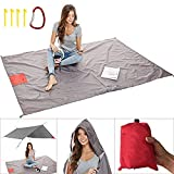 Sand Free Beach Blanket/Packable Pocket Blanket 55 X 80 - Outdoor Waterproof Ground Cover,Sand Proof Picnic Blanket for Hiking, Travel, Camping, Festival and Backpacking
