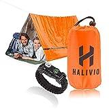 Halivio Emergency Tent for Emergency Shelter- Survival Tent Bivy -Emergency Sleeping Bag with Travel Bivvy Bag- Mylar Tube Tent and Survival Bracelet
