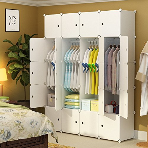 MAGINELS Magicial Panels Wardrobe Portable Closet Organizer Clothes Armoire Cube Storage Dresser for Bedroom, Large & Study, White, 8 Cubes & 4 Hanging Sections