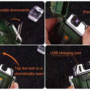 Green-Vivid-Waterproof-Flameless-Electric-Lighter-Dual-Arc-Plasma-Beam-Lighter-USB-Rechargeable-Windproof-No-Butane-Ideal-Lighter-for-Indoor-and-Outdoor-Activities-Camouflage