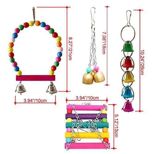 Parakeet Toys ,Bird Cage Accessories Hammock Bird Swing Toys Hanging Perch,Cages Decorative Accessories for Small Parakeets Cockatiels, Conures, Macaws, Parrots, Love Birds, Finches